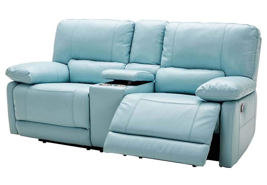 Kuka Maui Light Blue Power Reclining Console Loveseat Leather Match