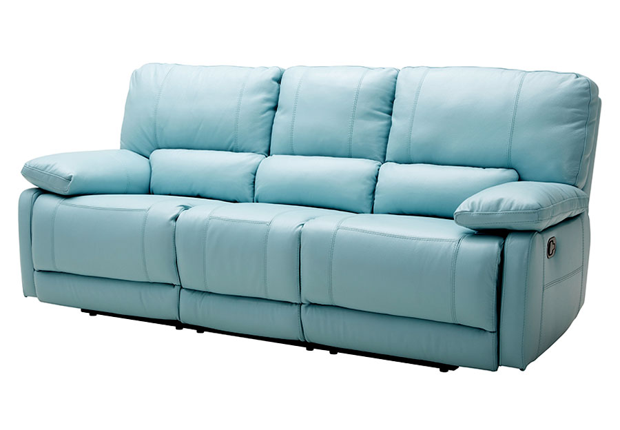 Kuka Maui Light Blue Reclining Sofa Leather Match