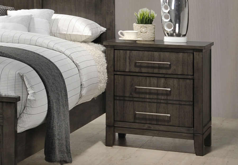 Simmons Preston Grey Three Drawer Nightstand