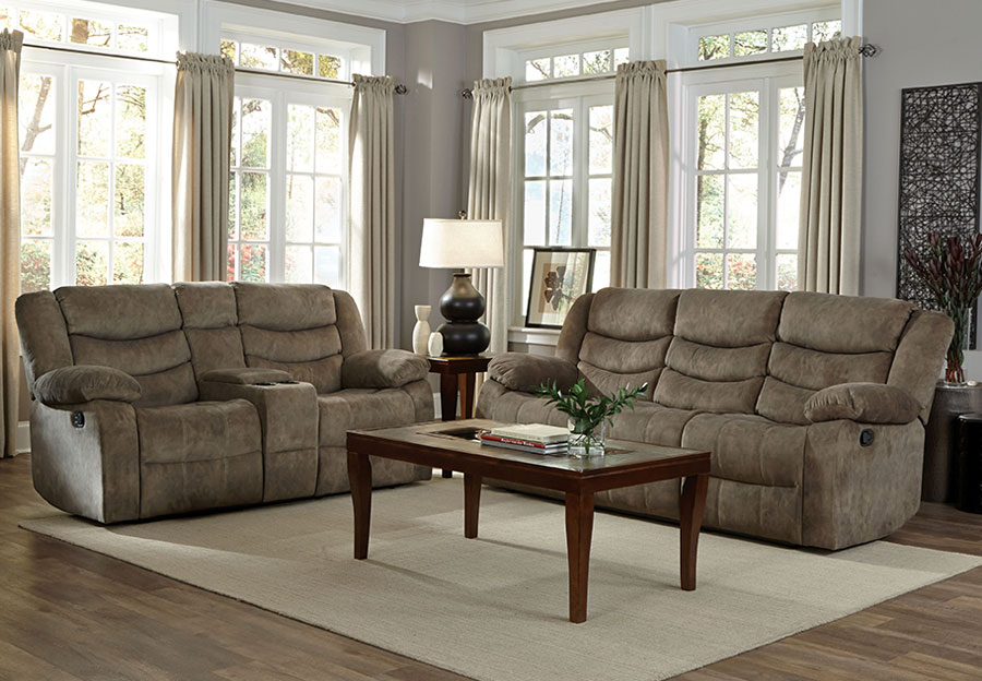 Standard Ridgecrest Grey Reclining Sofa and Reclining Console Loveseat
