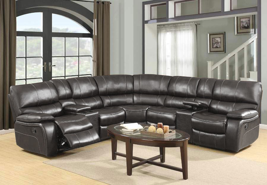 Global Agnes Grey Reclining Sectional in Leather Gel