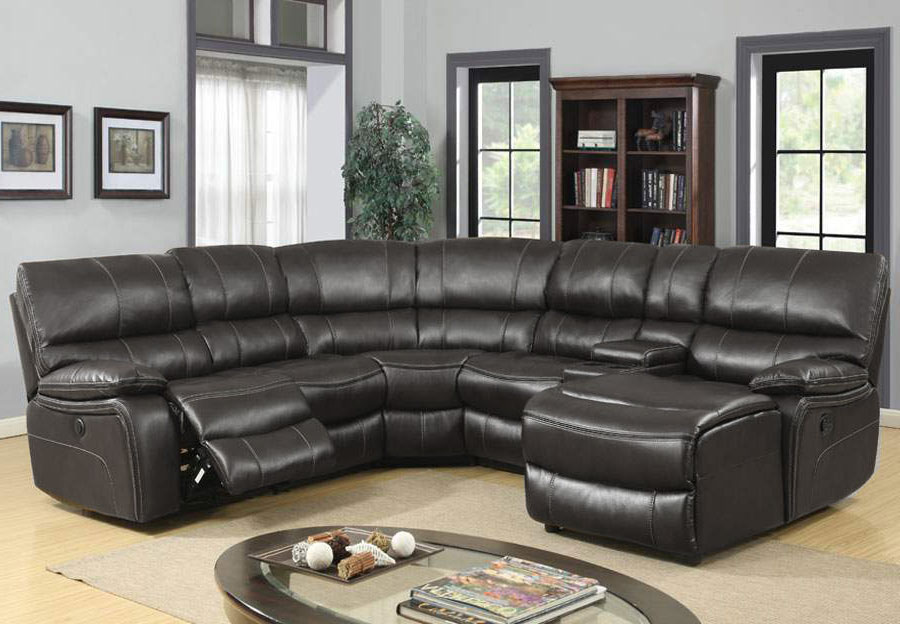 Global Agnes Grey Reclining Sectional with Chaise in Leather Gel