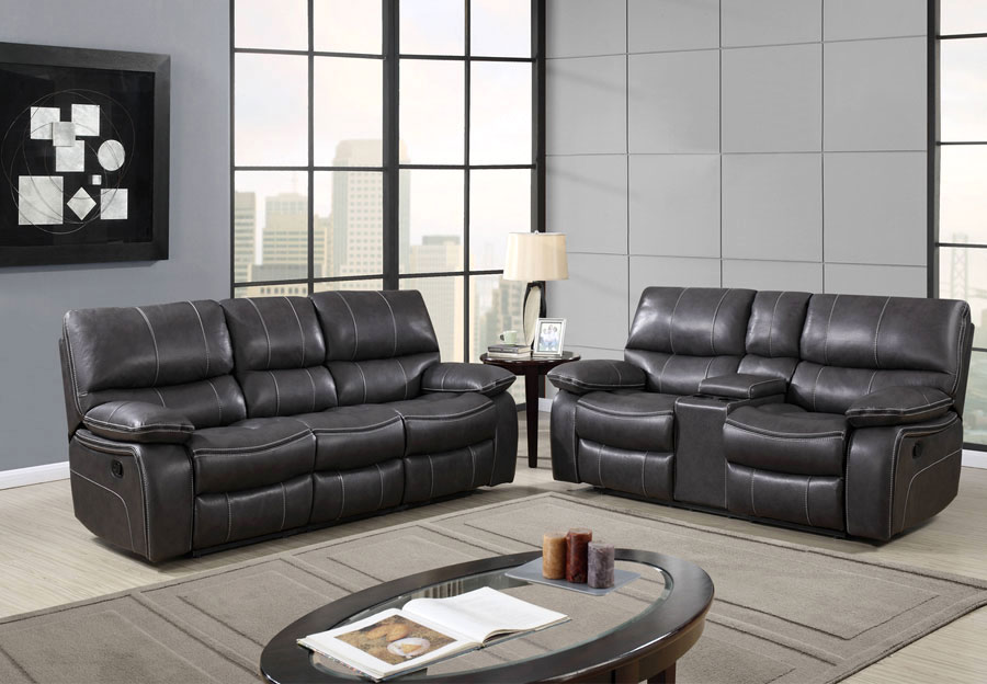 Global Agnes Grey Reclining Sofa And Console Loveseat In Leather Gel