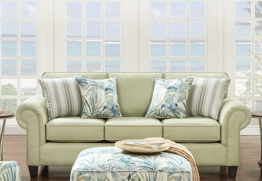 Fusion Queen Sleeper Sofa Vibrant Pear with Elixar Spa and Kinview Mint Accent Pillows