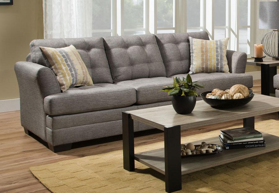 Simmons Sofa Jensen Grey With Snag Wasabi Accents Pillows