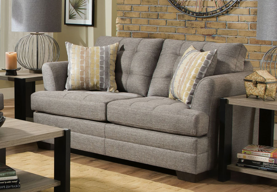 Simmons Loveseat Jensen Grey With Snag Wasabi Accents Pillows
