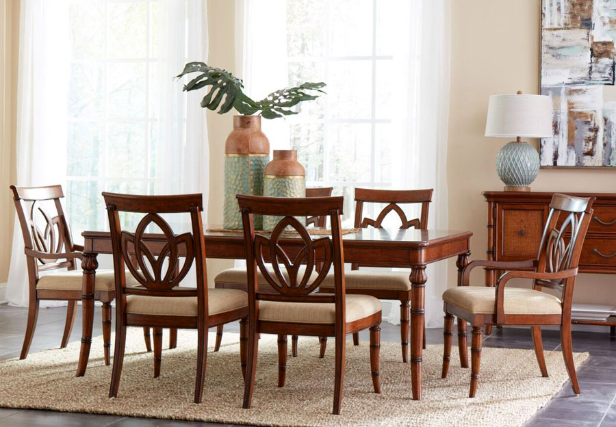 Panama Jack Brown Isle of Palms Rectangle Dining Table and Four Side Chairs