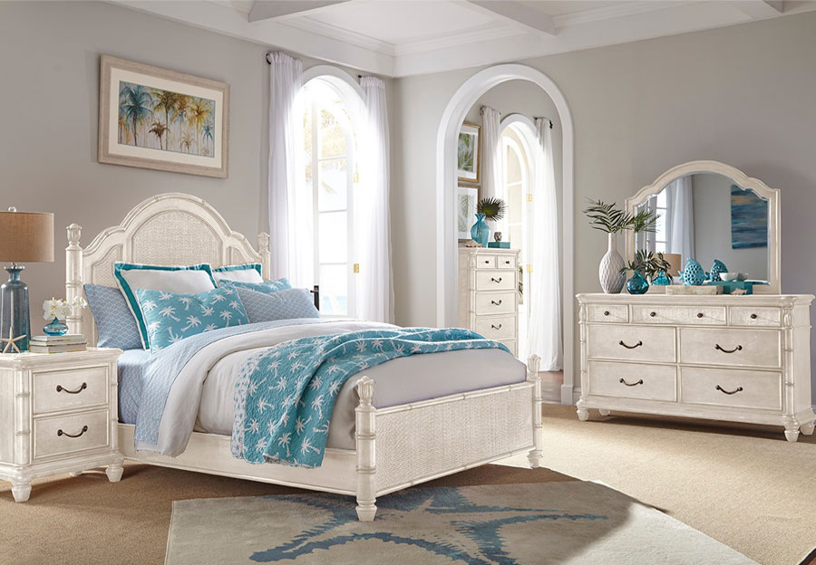Panama Jack White Isle of Palms Queen Headboard, Footboard, Rails, Dresser, and Mirror