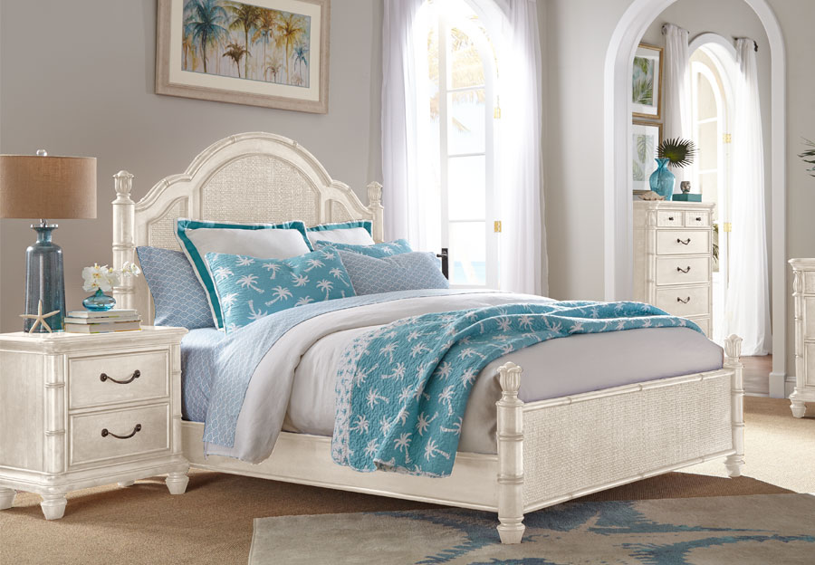 Panama Jack White Isle of Palms Queen Headboard, Footboard, and Rails