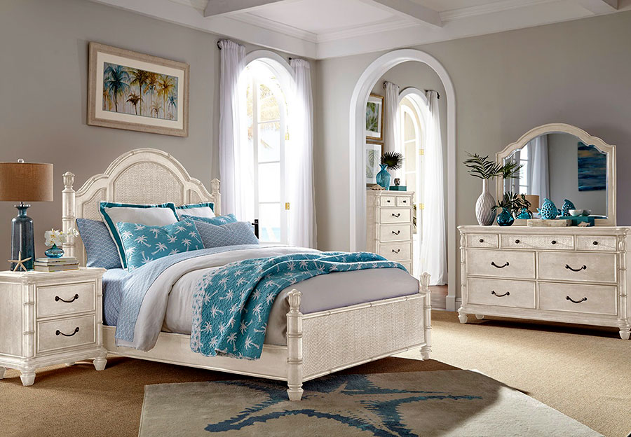 Panama Jack White Isle of Palms King Headboard, Footboard, Rails, Dresser, and Mirror