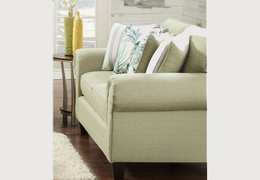 Fusion Loveseat Vibrant Pear with Elixar Spa and Kinview Mint Accent Pillows