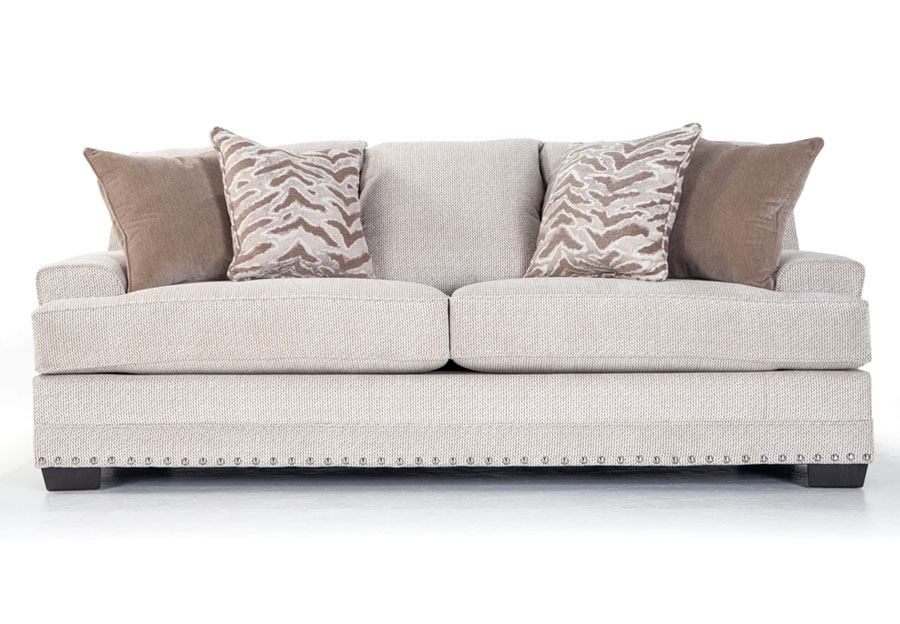 Simmons BeautyRest Sofa Grenada Natural With Symbio Pearl and Veince Putty Accent Pillows
