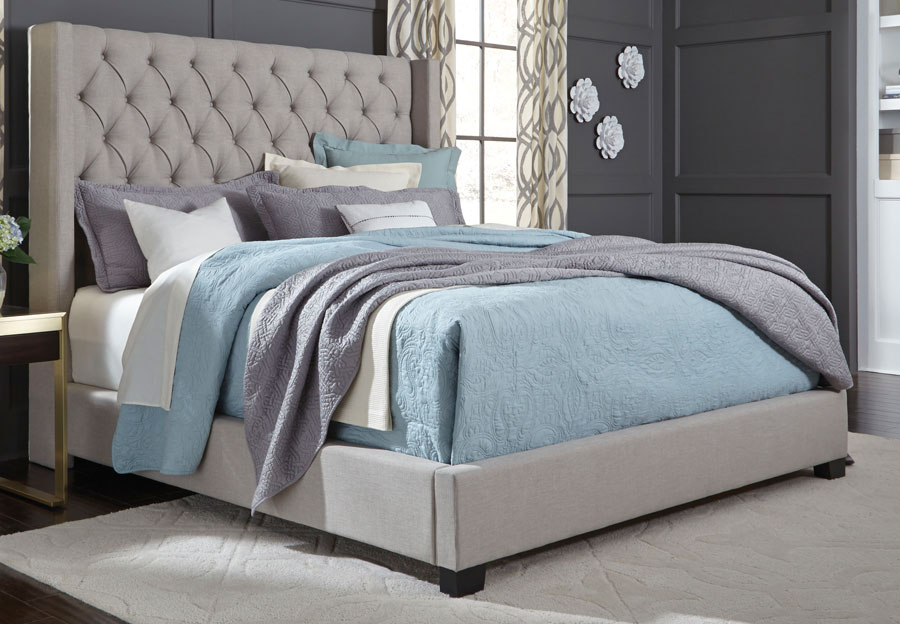 Standard Westerly Grey Upholstered Queen Bed