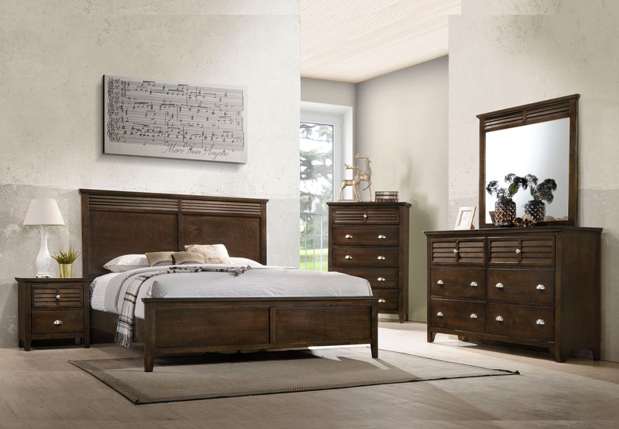 Lifestyles Shutter Brown King Headboard, Footboard, Rails, Dresser, and Mirror