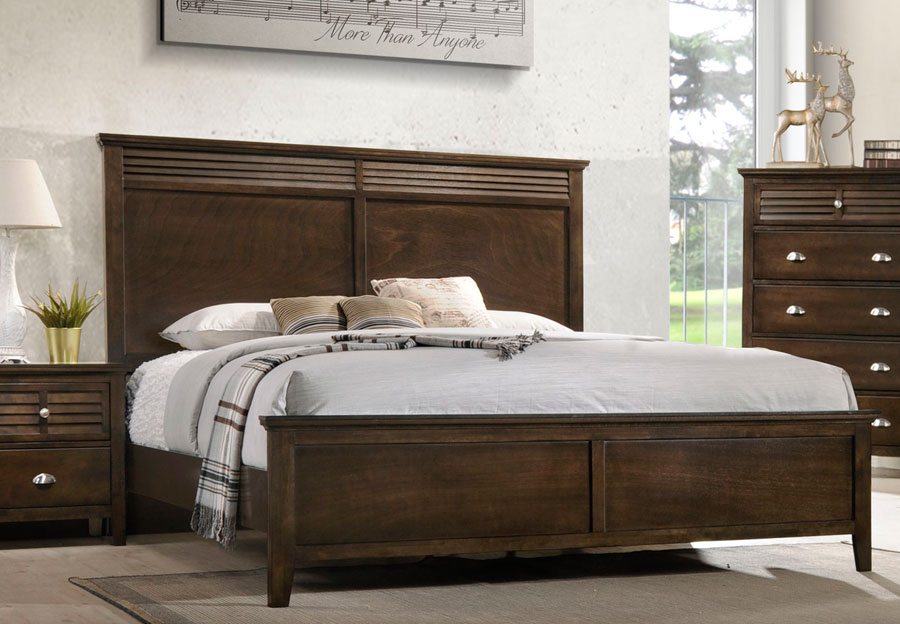 Lifestyles Shutter Brown King Headboard, Footboard and Rails