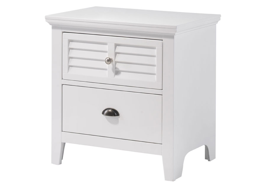 Lifestyles C7313 White Two Drawer Nightstand