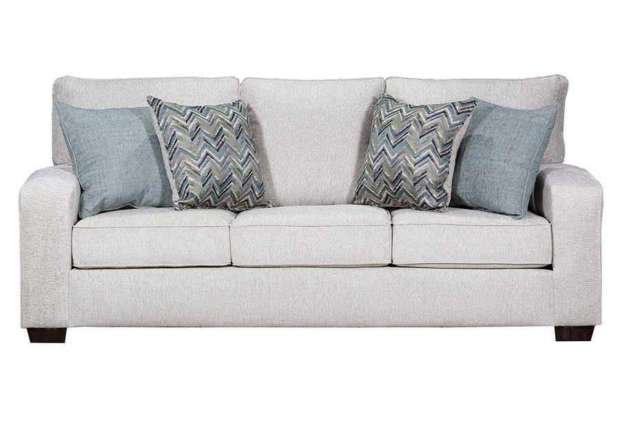 Simmons Upholstery Sofa Endurance Grain With Challenge Seaglass and Montero Spa Accent Pillows