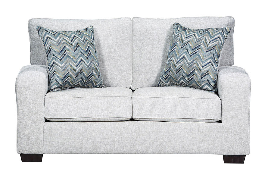 Simmons Upholstery Loveseat Endurance Grain With Challenge Seaglass and Montero Spa Accent Pillows