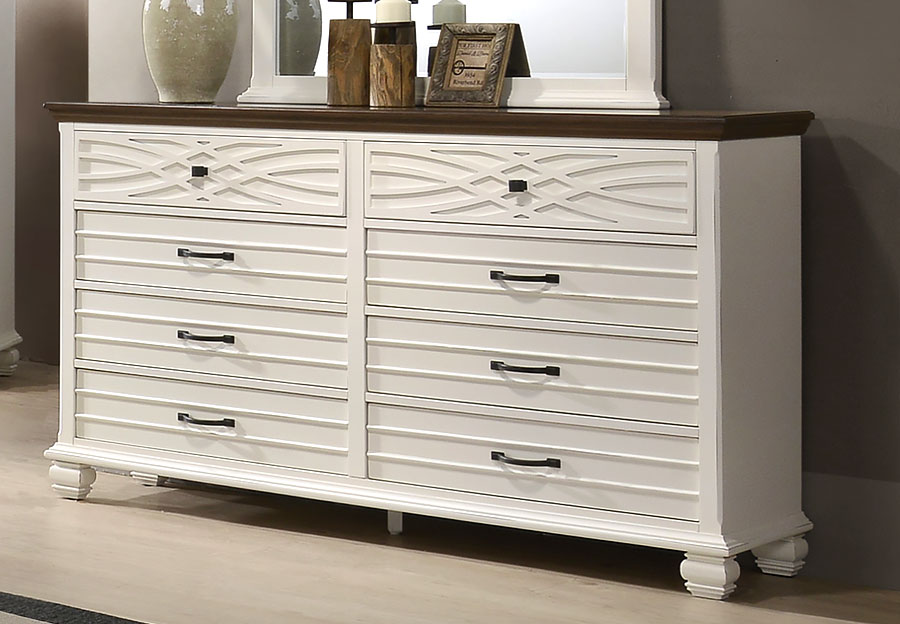 Lane Bellebrooke White Six Drawer Dresser