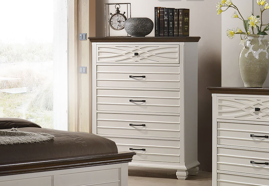 Lane Bellebrooke White Five Drawer Chest