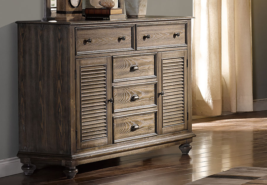 New Classic Lakeport Pewter Eight Drawer Dresser
