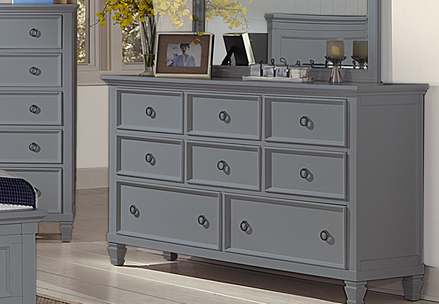 New Classic Tamarack Gray Eight Drawer Dresser