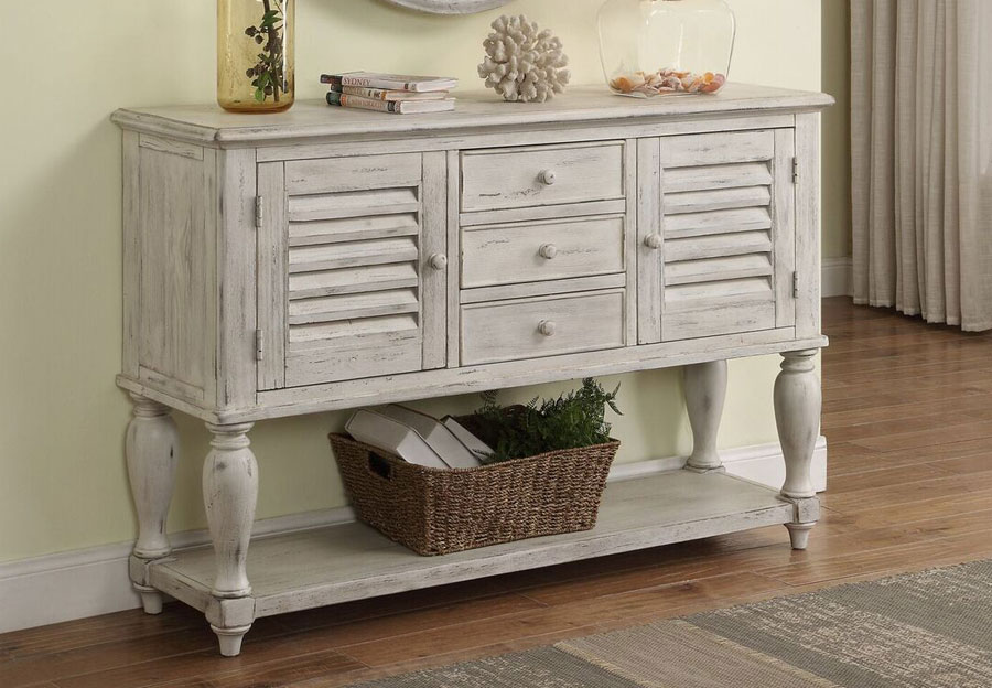 Coast To Coast Orchard White Rub Sideboard Two Door Three Drawer