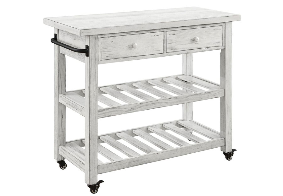 Coast To Coast Orchard White Rub Two Drawer Kitchen Cart