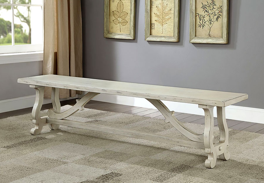 Coast To Coast Orchard White Rub Dining Bench