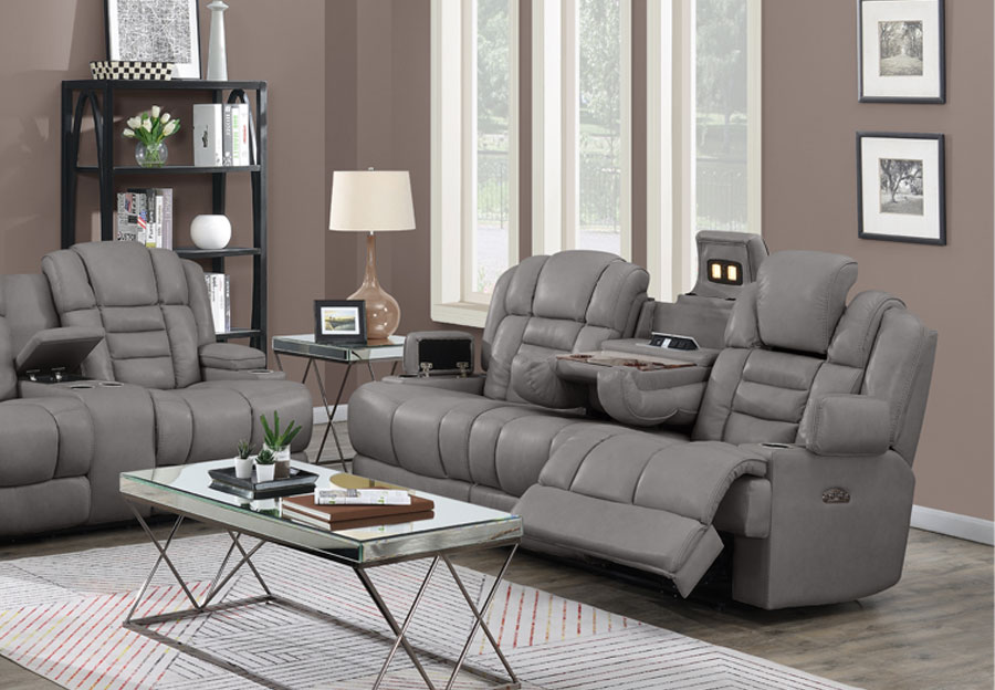 Trend Damon Transformer Grey Leather Dual Power Reclining Sofa