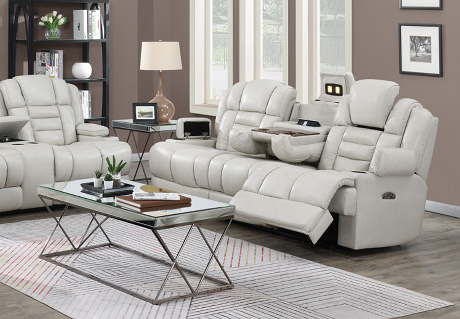 Trend Damon Transformer Cream Leather Dual Power Reclining Sofa