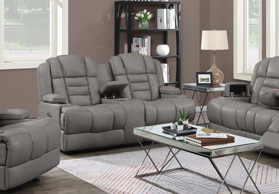 Trend Damon Transformer Grey Leather Dual Power Console Loveseat