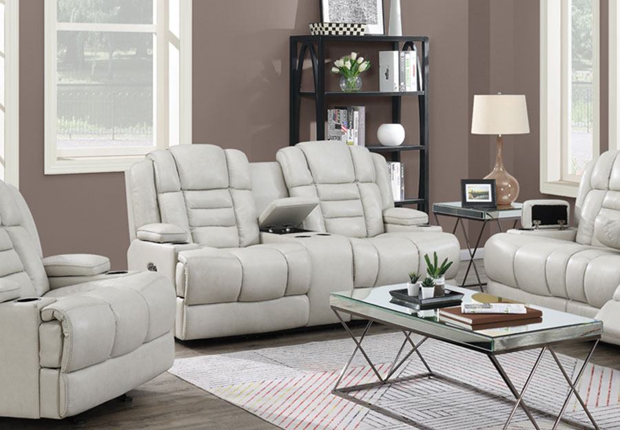 Trend Damon Transformer Cream Leather Dual Power Console Loveseat