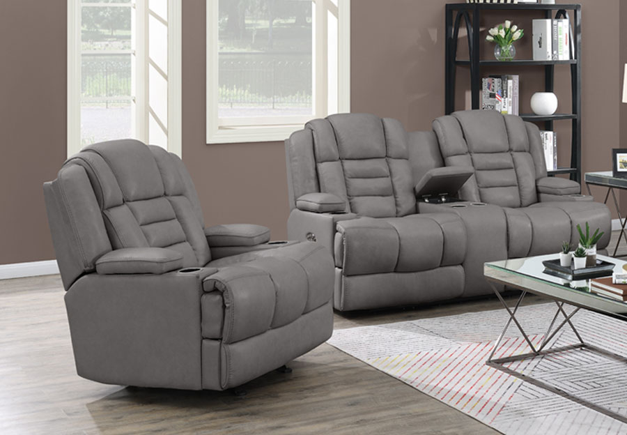 Trend Damon Transformer Grey Leather Dual Power Recliner