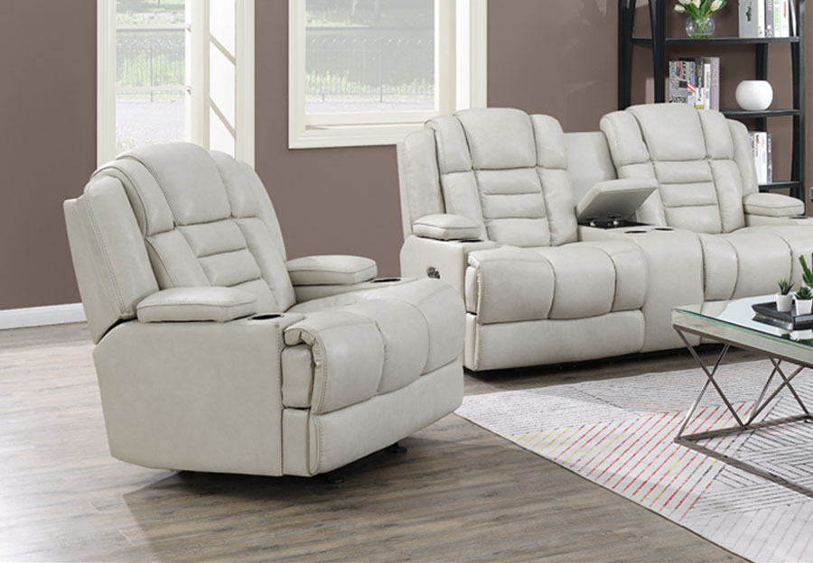 Trend Damon Transformer Cream Leather Dual Power Recliner