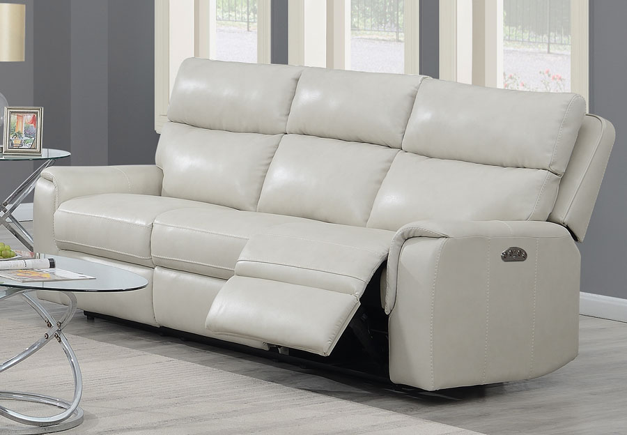 Trend Oberon Cream Leather Match Dual Power Reclining Sofa