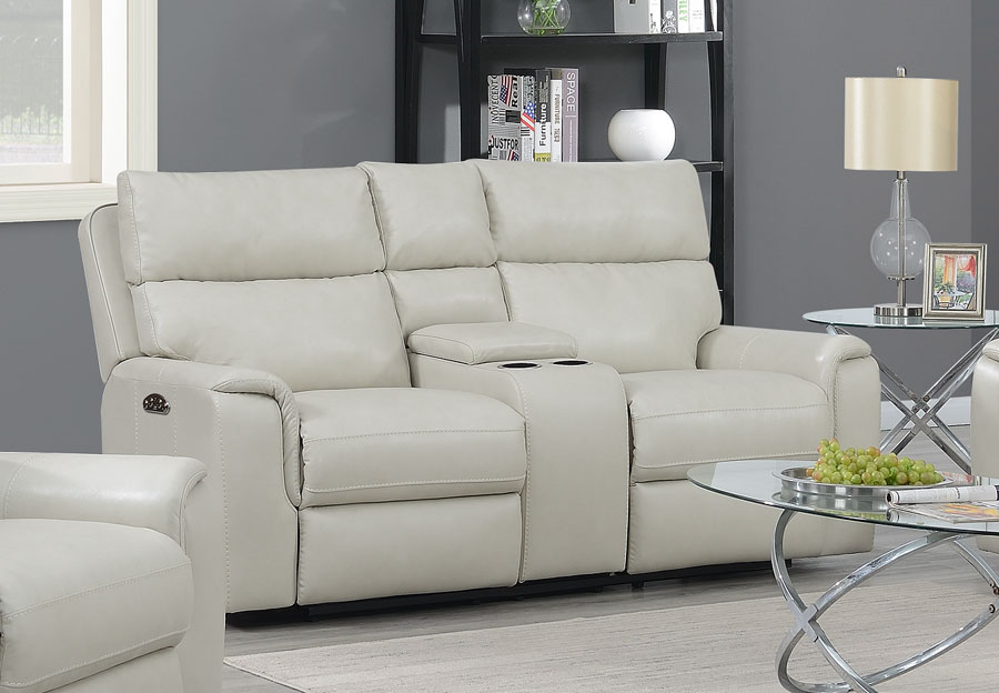 Trend Oberon Cream Leather Match Dual Power Reclining Loveseat With Console