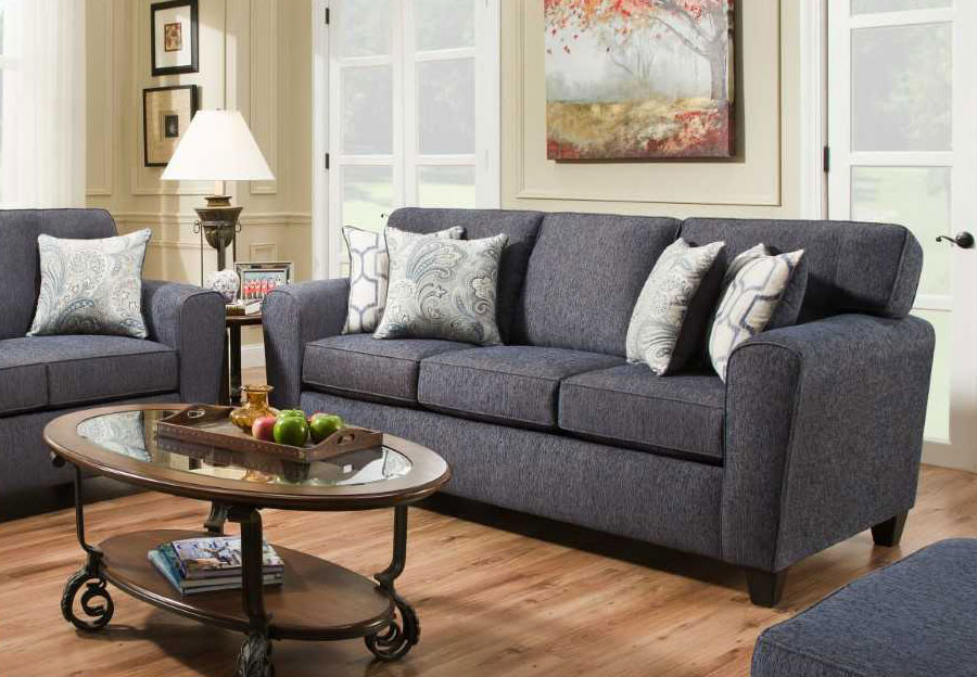 American Furniture Queen Sleeper Uptown Denim With Barilla Denim /Skyview Denim Accent Pillows