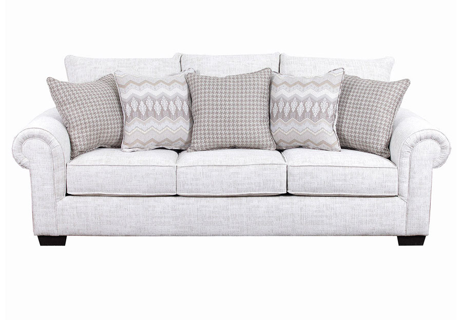 Simmons Beautyrest Sofa Gavin Linen With Pierre Platinum And Clever Tan Accent Pillows