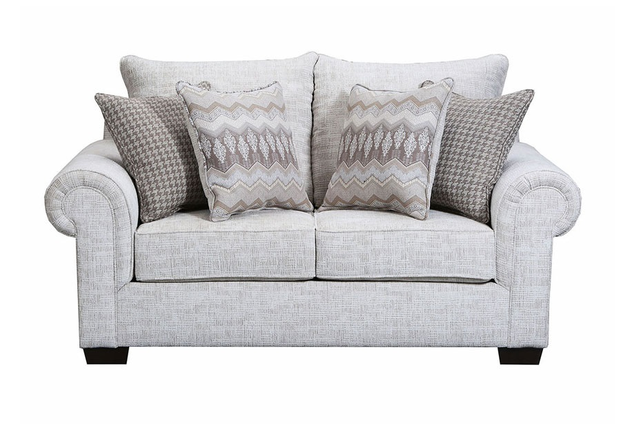 Simmons Beautyrest Loveseat Gavin Linen With Pierre Platinum And Clever Tan Accent Pillows