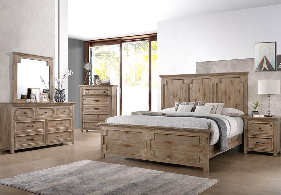 Lane Sante Fe Natural King Headboard, Footboard and Rails, Dresser, Mirror and Nightstand