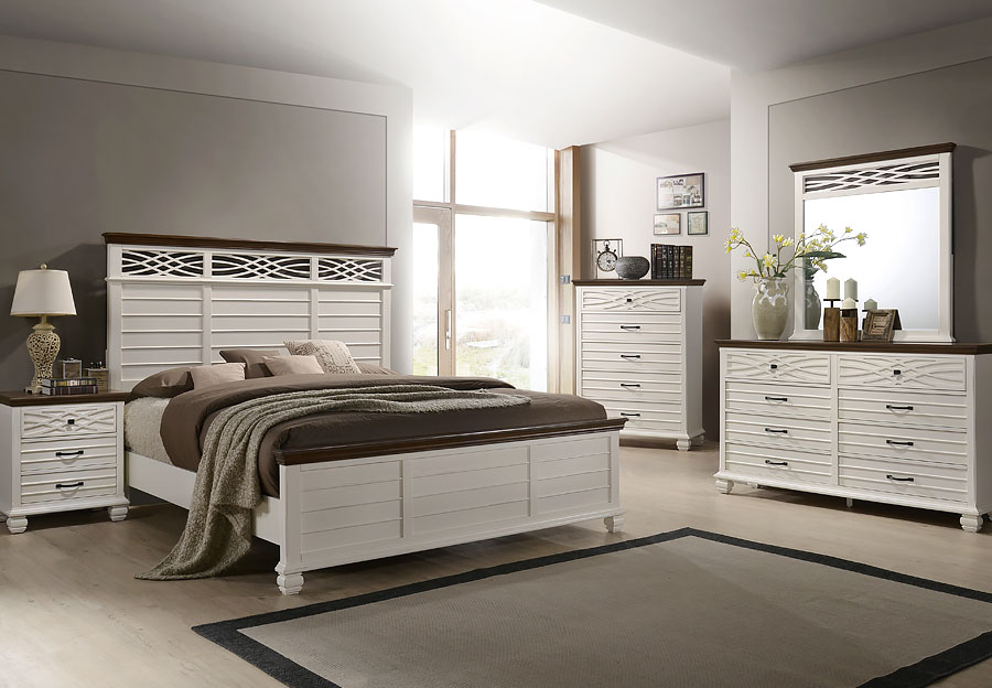 Lane Bellebrooke White 6pc Queen Bedroom Set (Headboard, Footboard, Rails, Dresser, Mirror and Nightstand)