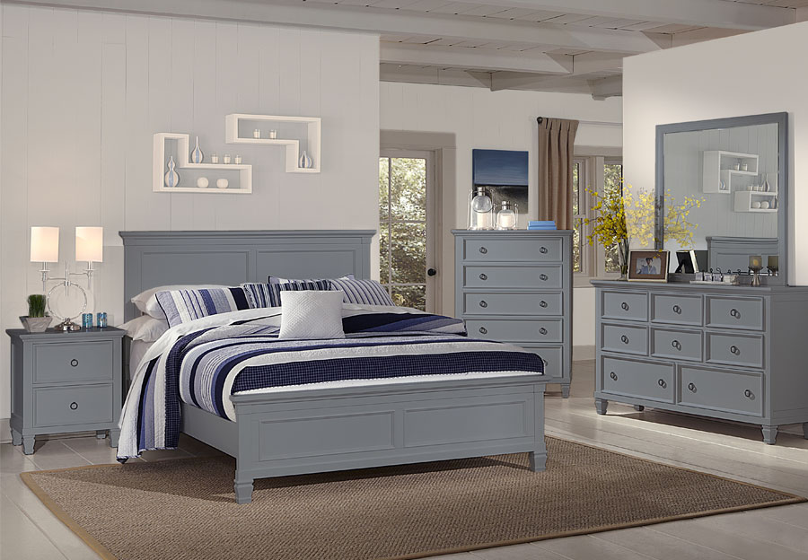 New Classic Tamarack Gray Queen Headboard, Footboard and Rails, Dresser, and Mirror