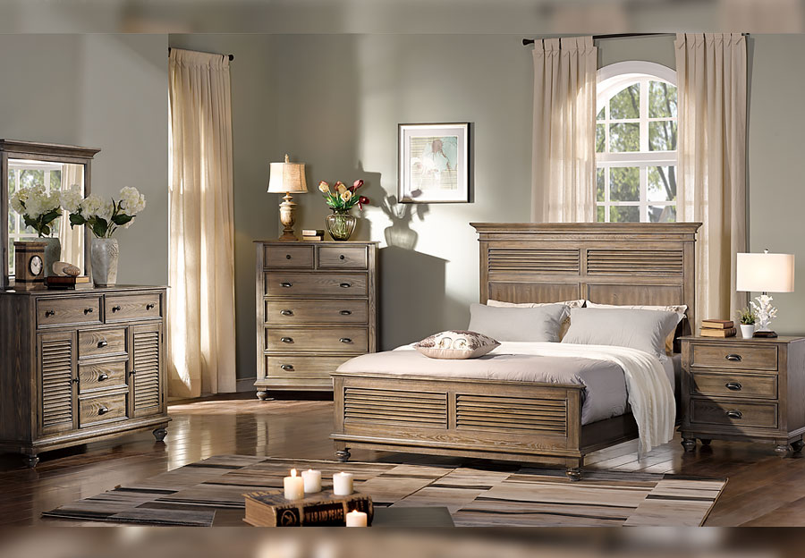 New Classic Lakeport Pewter King Headboard, Footboard and Rails, Dresser, Mirror and Nightstand