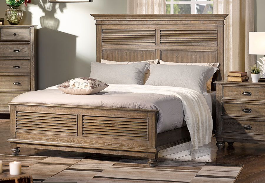 New Classic Lakeport Pewter King Headboard, Footboard and Rails