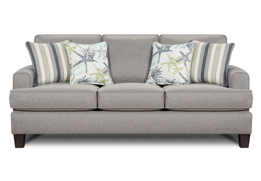 Fusion Jitterbug Flax Sofa With Savanah Ocean And Reinvented Nautica Accent Pillows
