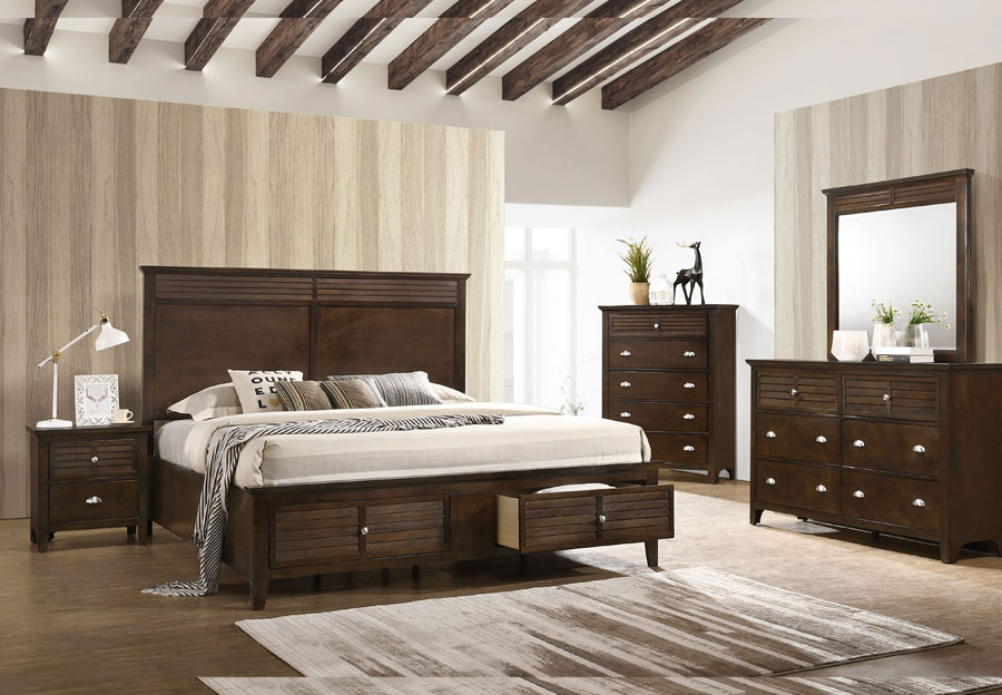 Lifestyles C7313 Brown Queen Storage Headboard, Footboard, Rails, Dresser, Mirror and Nightstand