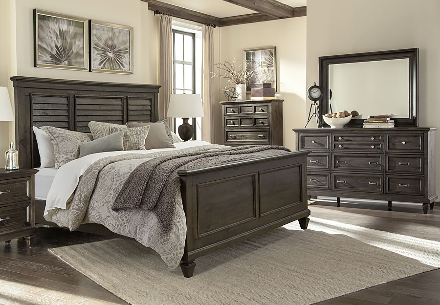 Magnussen Calistoga 5pc Queen Bedroom Set (Headboard, Footboard, Rails, Dresser, and Mirror)