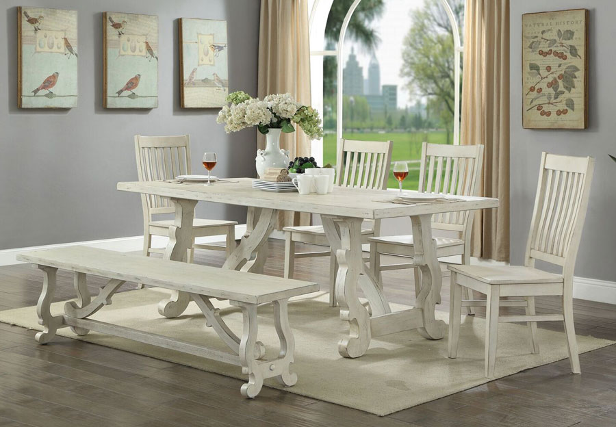 Coast To Coast Orchard White Rub Dining Table Two Chairs And Bench