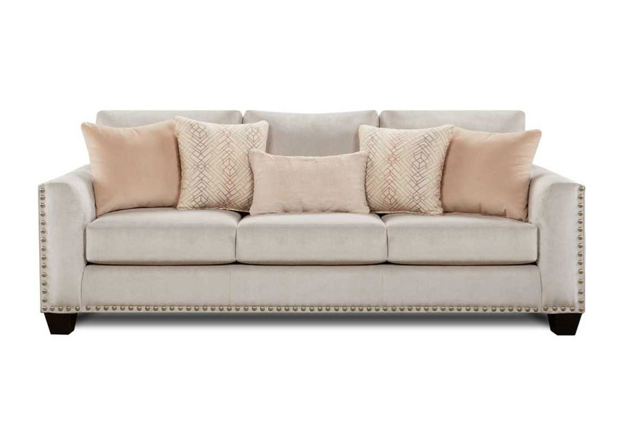 Fusion Asia Fawn Brindle Sofa with Argentine Blush, Antonio Chiffon and Bunny Stone Pillows
